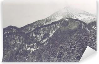 Carta da Parati in Vinile Nuvole che si muovono sopra picco di montagna distante