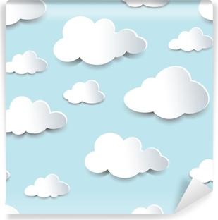 Carta da Parati in Vinile Nuvole di ritaglio senza soluzione di continuità