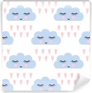 Carta da Parati in Vinile Nuvole modello. Seamless pattern con sorridente nuvole a pelo e il cuore per le vacanze i bambini. Cute baby shower vector background. Bambino disegno stile nuvole di pioggia in illustrazione vettoriale.