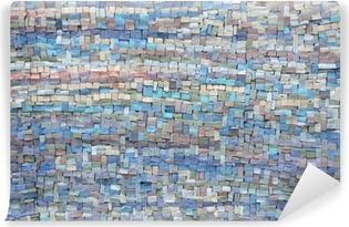 Carta da Parati in Vinile Old blu e lilla struttura di mosaico