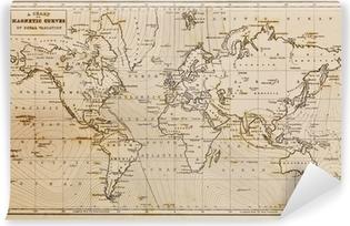 Carta da Parati in Vinile Old mappa disegnata a mano d'epoca del mondo