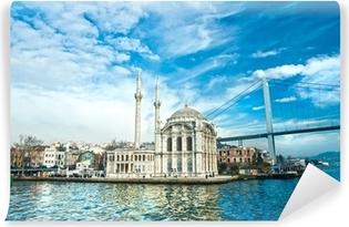 Carta da Parati in Vinile Ortakoy moschea e ponte sul Bosforo, Istanbul, Turchia.