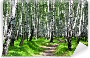 Carta da Parati in Vinile Paesaggio estivo con la foresta e il sole