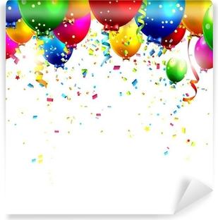 Carta da Parati in Vinile Palloncini di compleanno colorati e coriandoli - sfondo vettoriale