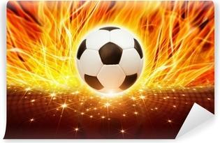 Carta da Parati in Vinile Pallone da calcio in fuoco