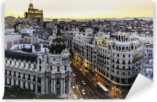 Carta da Parati in Vinile Panoramic view of Gran Via, Madrid, Spain.