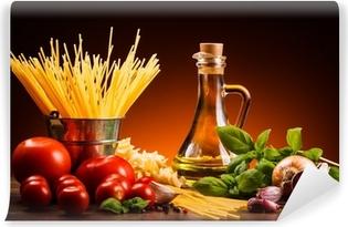 Carta da Parati in Vinile Pasta e verdure fresche