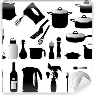 Poster Piatti, pan, mixer e altri oggetti di cucina silhouette ...