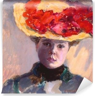 Carta da Parati in Vinile Pierre Bonnard - Ragazza con un cappello di paglia