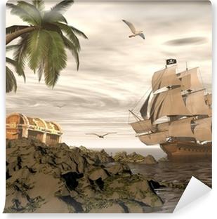 Carta da Parati in Vinile Pirate ship trovare il tesoro - render 3D