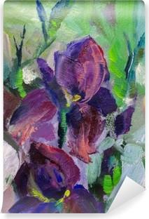 Carta da Parati in Vinile Pittura Natura morta pittura ad olio tessitura, iridi Impressionismo un