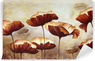 Carta da Parati in Vinile Pittura papaveri tela