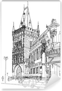 Carta da Parati in Vinile Praga - Torre delle Polveri e Casa Municipale. Vector architettonico dr
