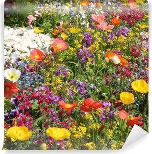Quadro su Tela Prato di fiori con papaveri colorati - Wild Garden ...