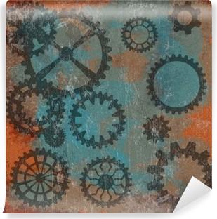 Carta da Parati in Vinile Punk a vapore grunge con orologio wheels__