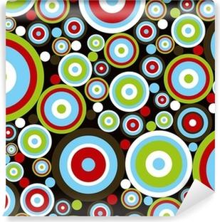 Carta da Parati in Vinile Retro, potere rosso cerchi blu, verde, marrone su