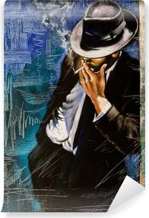 Carta da Parati in Vinile Ritratto di un uomo con una sigaretta