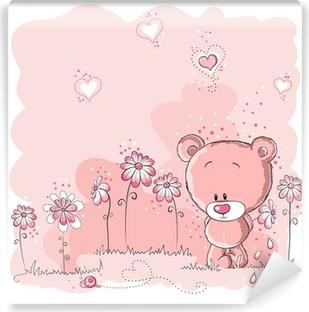 Carta da Parati in Vinile Rosa simpatico orso che tiene un fiore