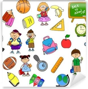 Scollare Carta Da Parati.Carta Da Parati Scolari E Studentesse Carino Elementi Scolastiche