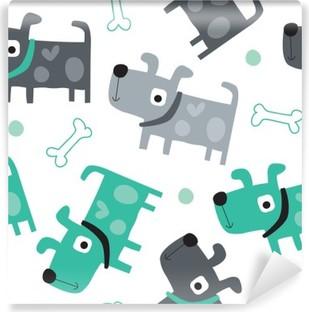 Carta da Parati in Vinile Seamless modello cane - illustrazione vettoriale