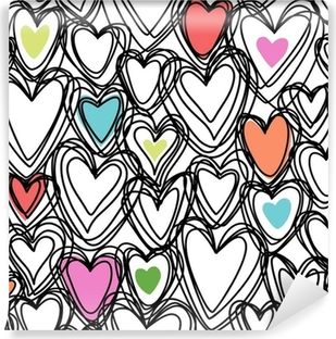 Carta da Parati in Vinile Seamless pattern con cuori doodle