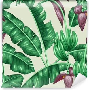 Carta da Parati in Vinile Seamless pattern con foglie di banano. Immagine decorativa di fogliame tropicali, fiori e frutti. Sfondo fatto senza maschera di ritaglio. Facile da usare per sfondo, tessile, carta da imballaggio
