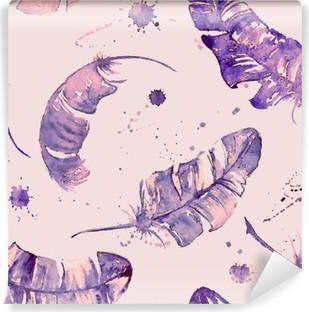 Carta da Parati in Vinile Seamless pattern con le piume acquerello