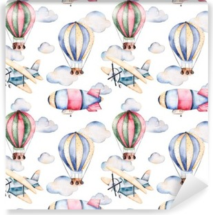 Carta da Parati in Vinile Seamless pattern con palloni ad aria, dirigibile, le nuvole e il piano in ballons aria pastello colors.Watercolor splendidamente decorate su sfondo bianco e altri aircrafts.Perfect per carta da parati