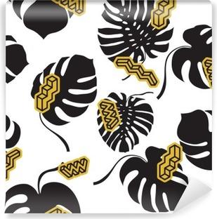 Carta da Parati in Vinile Seamless pattern dalle foglie Monstera