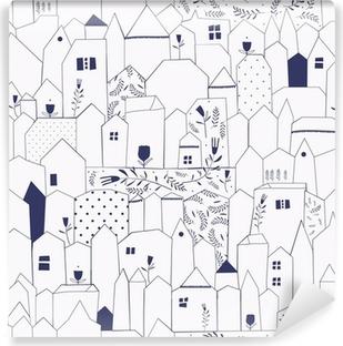 Carta da Parati in Vinile Seamless pattern. Figura città in stile vintage.