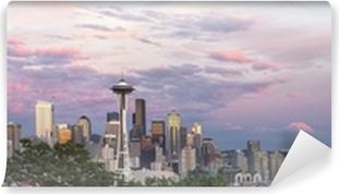 Carta da Parati in Vinile Seattle City Downtown Skyline at Sunset Panorama