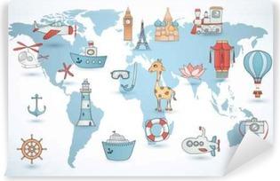 Carta da Parati in Vinile Set da viaggio. collezione di icone sulla mappa del mondo.