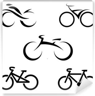 Adesivo Set Di Icone Con Le Bici Stilizzate Illustrazione