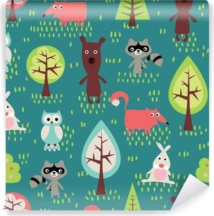 Carta da Parati in Vinile Simpatici animali seamless pattern