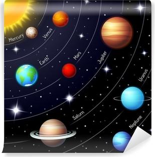 Carta da Parati in Vinile Sistema solare colorato vettore