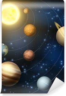 Carta da Parati in Vinile Sistema solare pianeti illustrazione