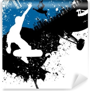 Carta da Parati in Vinile Skateboard freestyle astratto