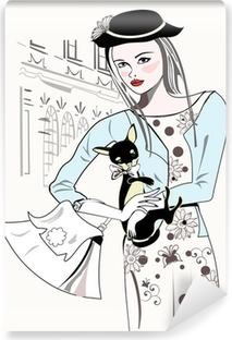 Carta da Parati in Vinile Sketch di moda retrò ragazza con un piccolo cane