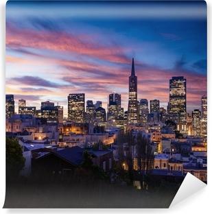 Carta da Parati in Vinile Skyline di San Francisco e la Bay Bridge al tramonto, California