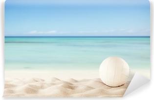 Carta da Parati in Vinile Spiaggia di estate con la sfera di pallavolo