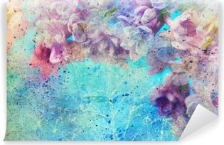 Carta da Parati in Vinile Splatter e bellissimi fiori lilla