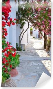 Carta da Parati in Vinile Strada tranquilla torna nella piccolo villaggio tradizionale greco