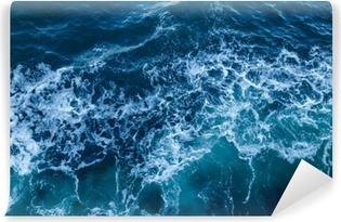 Carta da Parati in Vinile Struttura blu del mare con le onde e la schiuma