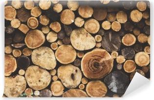 Carta da Parati in Vinile Struttura di legno da ardere