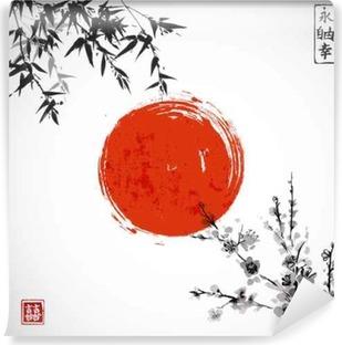 Carta da Parati in Vinile Sun, bambù e sakura in fiore. Tradizionale pittura a inchiostro sumi-e giapponese. Contiene geroglifico - doppia fortuna.