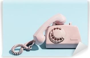 Quadro Su Tela Telefono Rosa Oldschool Su Sfondo Blu Pixers