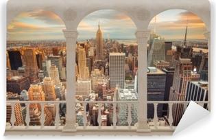 Carta da Parati in Vinile Terrazza - Vista del tramonto a New York