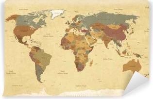 Carta da Parati in Vinile Tessuto mappa del mondo vintage - Etichette English / USA - Vector CMYK