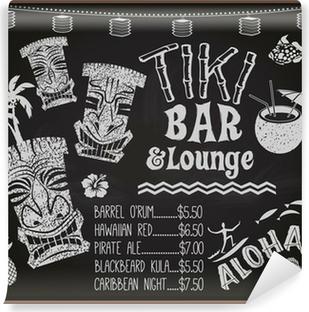 Carta da Parati in Vinile Tiki Bar and Lounge lavagna Cocktail Menu