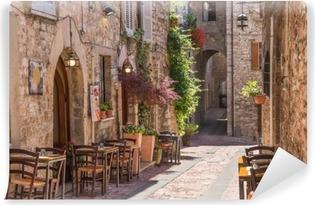 Carta da Parati in Vinile Tipico ristorante italiano nel vicolo storico